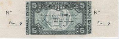 1 Enero 1937. Banco de España. Bilbao 5 Pesetas