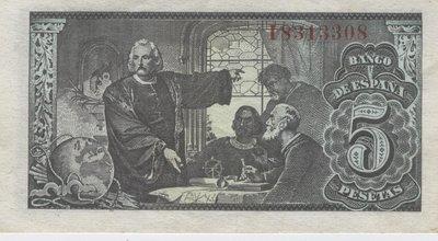 13 Febrero 1943. Banco de España 5 Pesetas